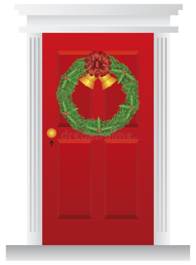 WeihnachtsKranz, der an der roten Tür-Abbildung hängt lizenzfreie abbildung
