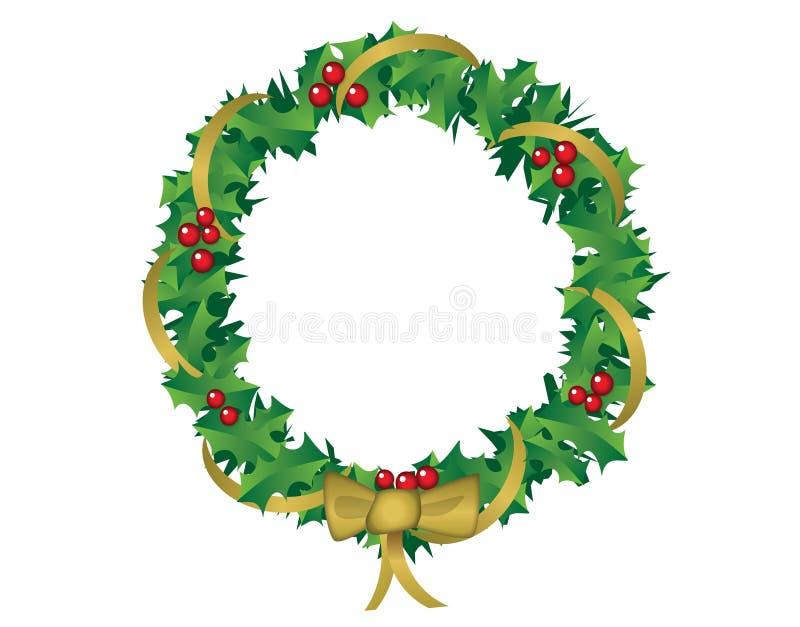 Weihnachtskranz der Stechpalme und des Bandes vektor abbildung