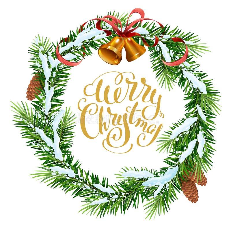 WeihnachtsKranz der Tannenzweige Beschriftungstext der frohen Weihnachten für Grußkarte lizenzfreie abbildung