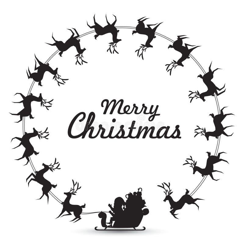 Weihnachtskranz Elemente mit dem Santa Claus-Fahrrenpferdeschlitten, der herum spinnt, machen Rahmen für leeren Kopienraum für Te lizenzfreie abbildung