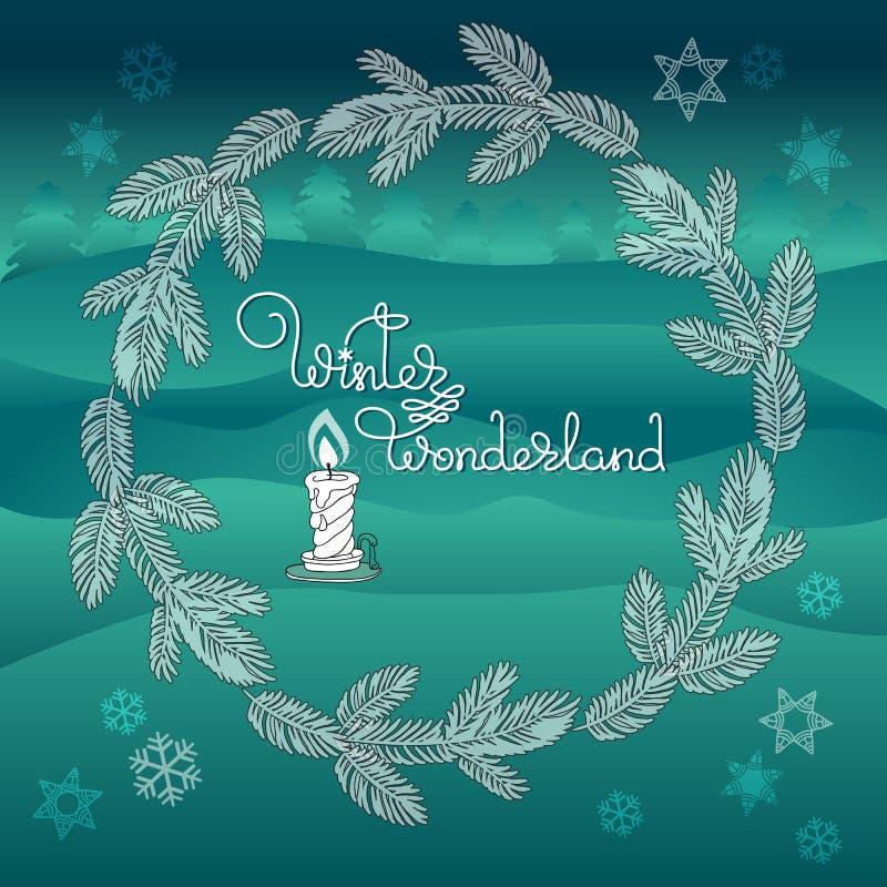Weihnachtskranz, Kerze und handgeschriebenes Wörter Winter-Märchenland stock abbildung