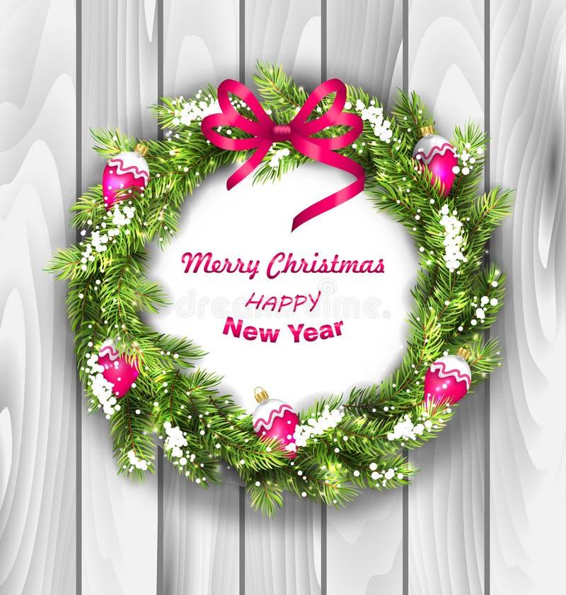 Weihnachtskranz mit Bällen, neues Jahr und vektor abbildung