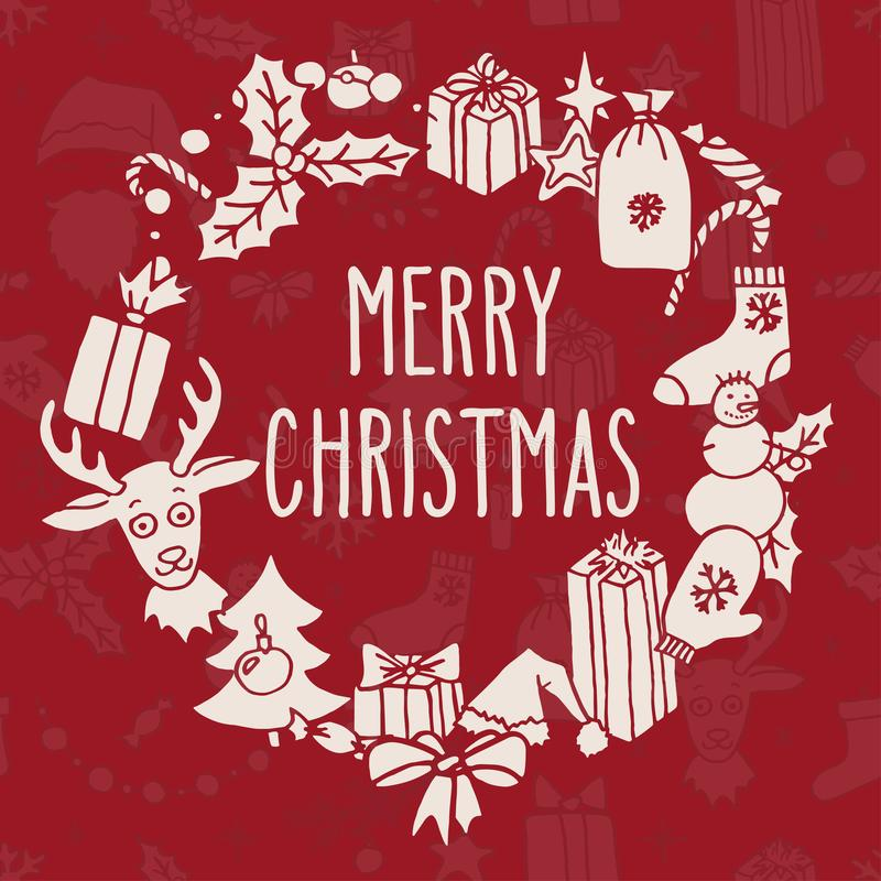 Weihnachtskranz mit Grüßen vektor abbildung