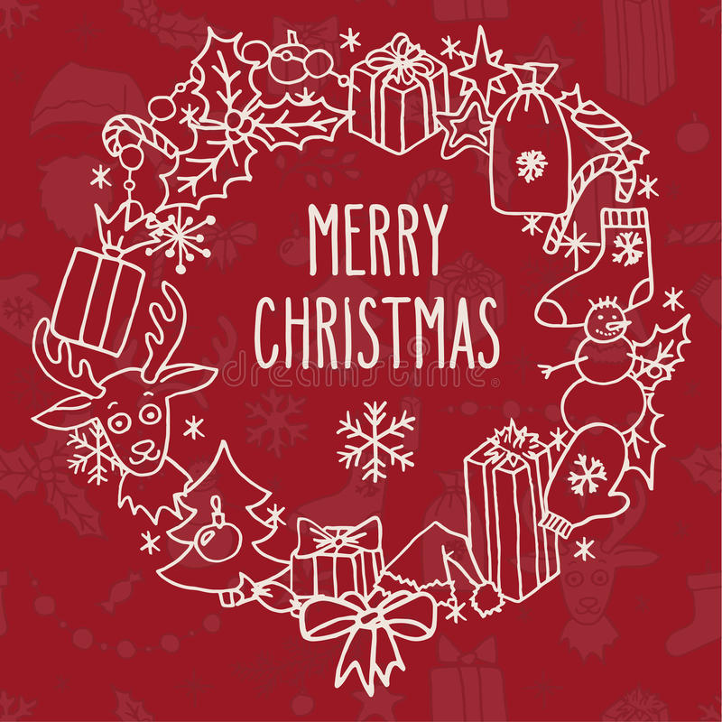 Weihnachtskranz mit Grüßen lizenzfreie abbildung