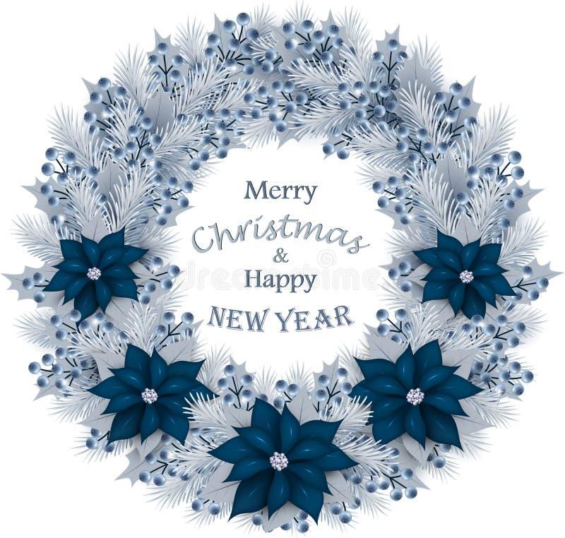 Weihnachtskranz mit Tannenzweigen, Blaubeeren und Blumen stock abbildung