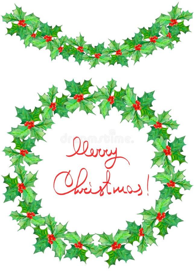 Weihnachtskranz (Rahmen) und Girlande des Aquarells verzweigt sich mit den roten Beeren und Grün verlässt (Stechpalme) lizenzfreie abbildung