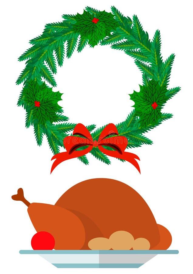 Weihnachtskranz und festlicher Truthahn lizenzfreie stockfotos