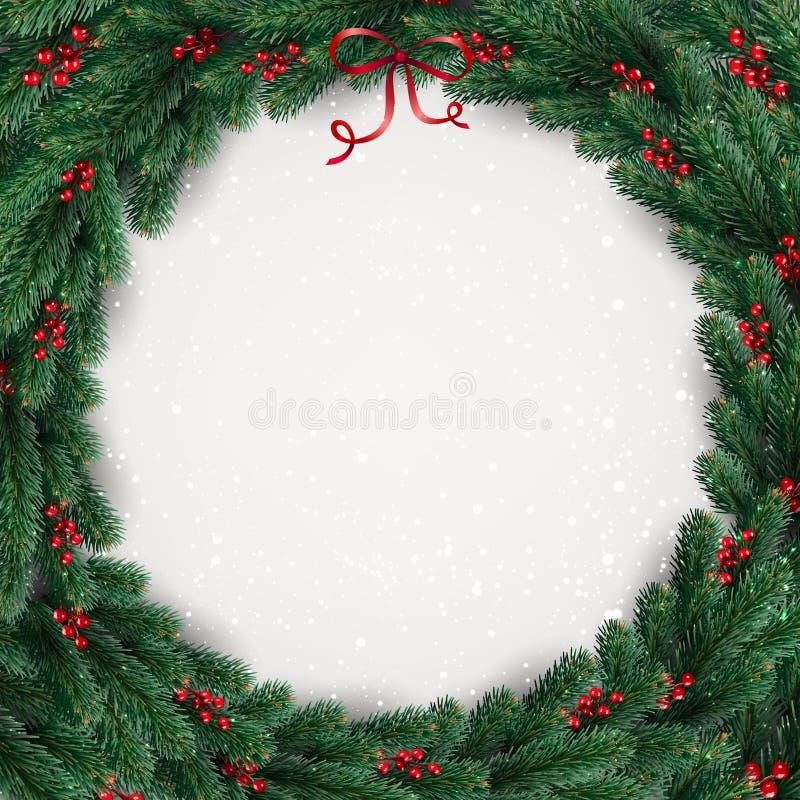 Weihnachtskranz von Baumasten, Beeren auf weißem Hintergrund mit Lichtern, Schneeflocken vektor abbildung
