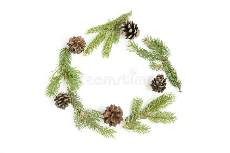 Weihnachtskranz von den Kiefernkegeln und -Tannenzweigen lokalisiert auf weißem Hintergrund stockbilder