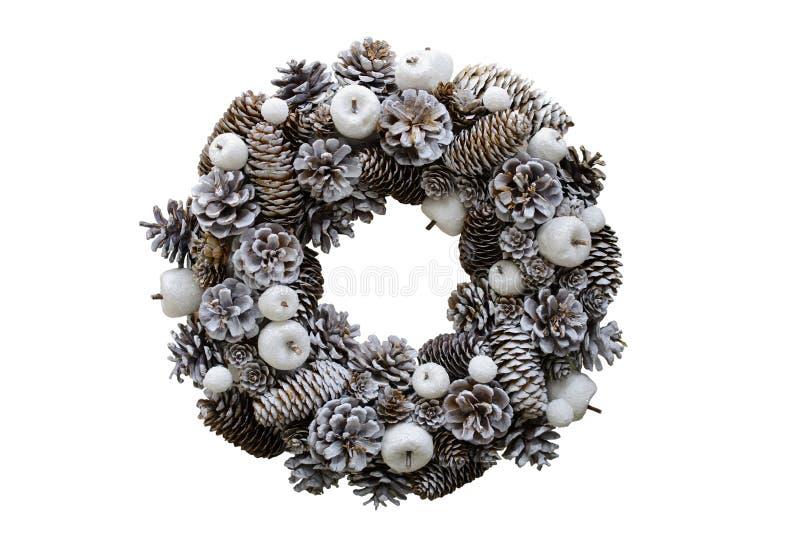 Weihnachtskranz von Kegeln und von Äpfeln, neues Jahr ` s Dekorationen Ist lizenzfreies stockbild