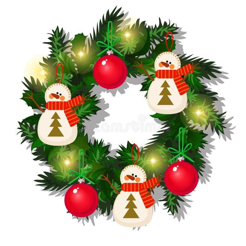 Weihnachtskranz von Tannenzweigen, roter Flitter, Girlande, Schneemann lokalisiert auf weißem Hintergrund Skizze von Weihnachten  stock abbildung
