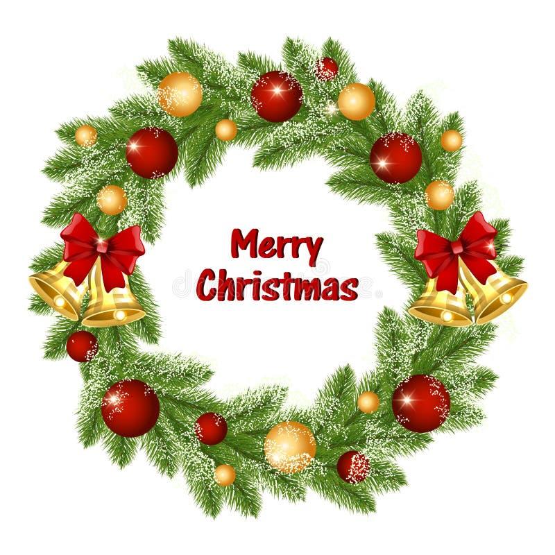 Weihnachtskranz von Weihnachtsbaumasten mit goldenen Glocken und Bällen lizenzfreie abbildung