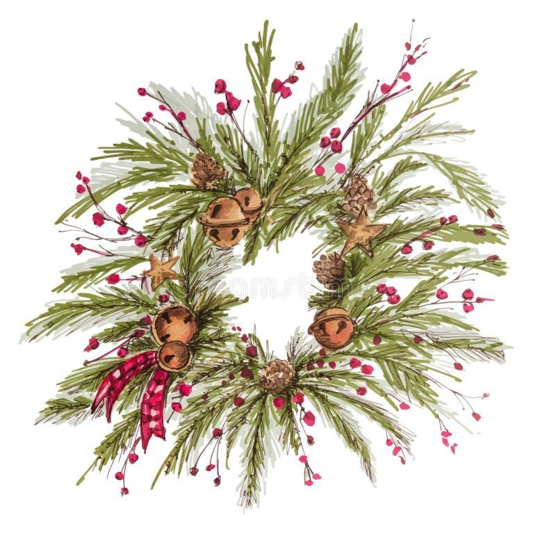 Weihnachtskranzweinlese Dekoration neuen Jahres mit Kiefer verzweigt sich, Beeren, Tannenzapfen vektor abbildung