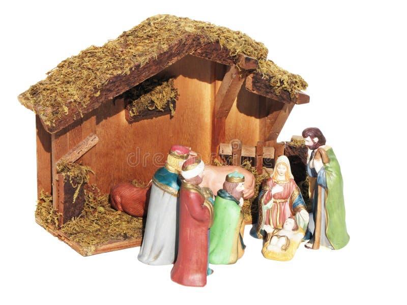 Weihnachtskrippe dargestellt Statuetten von Mary, von Joseph und von Baby Jesus lizenzfreies stockbild