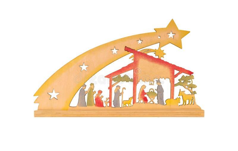 Weihnachtskrippe, flach gemacht vom Holz, lokalisiert auf einem weißen Hintergrund mit einem Beschneidungspfad- und Kopienraum lizenzfreie stockfotos