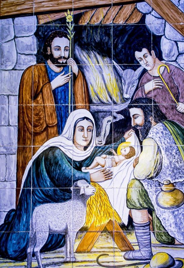 Weihnachtskrippe - Jesus Mary Joseph stockbild