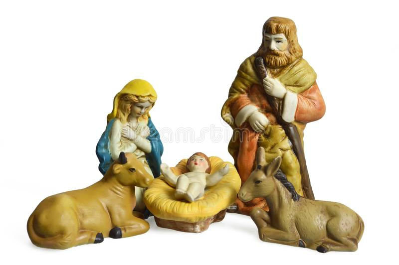 Weihnachtskrippe mit der heiligen Familie lokalisiert auf Weiß lizenzfreie stockfotos