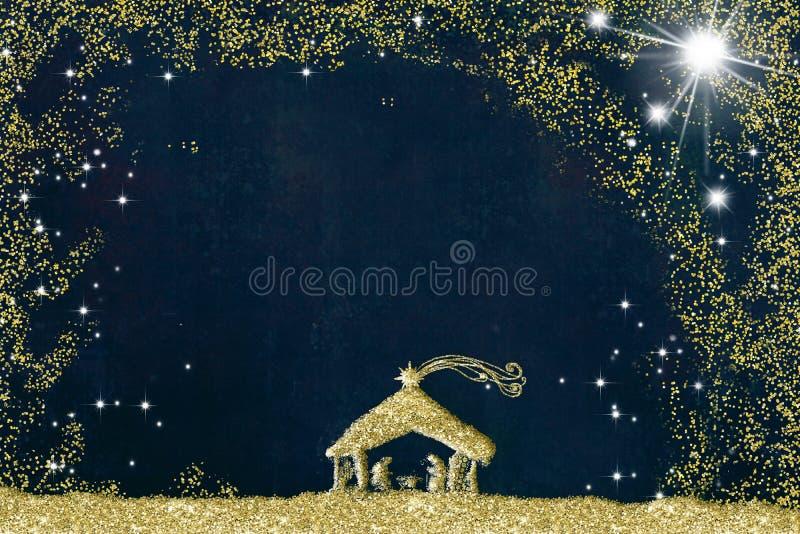 Weihnachtskrippen-Grußkarten, abstrakte Freihandzeichnenzeichnung der Krippe mit goldenem Funkeln, Schmutzhintergrund mit vektor abbildung