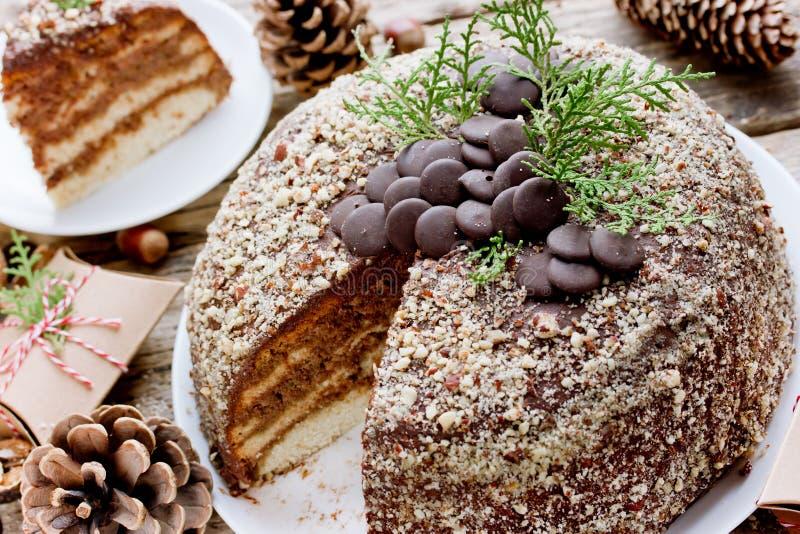 Weihnachtskuchen mit Schokoladencreme und Nuss zerkrümeln stockfotografie