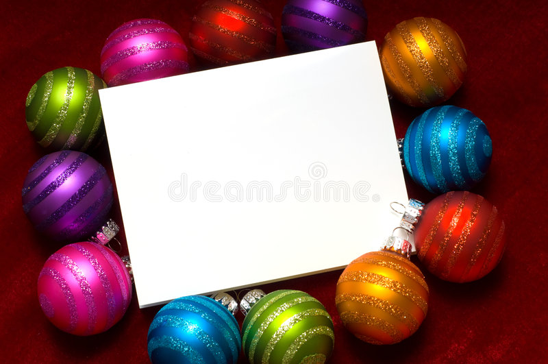 Weihnachtskugel Anmerkung-Karte stockfotografie