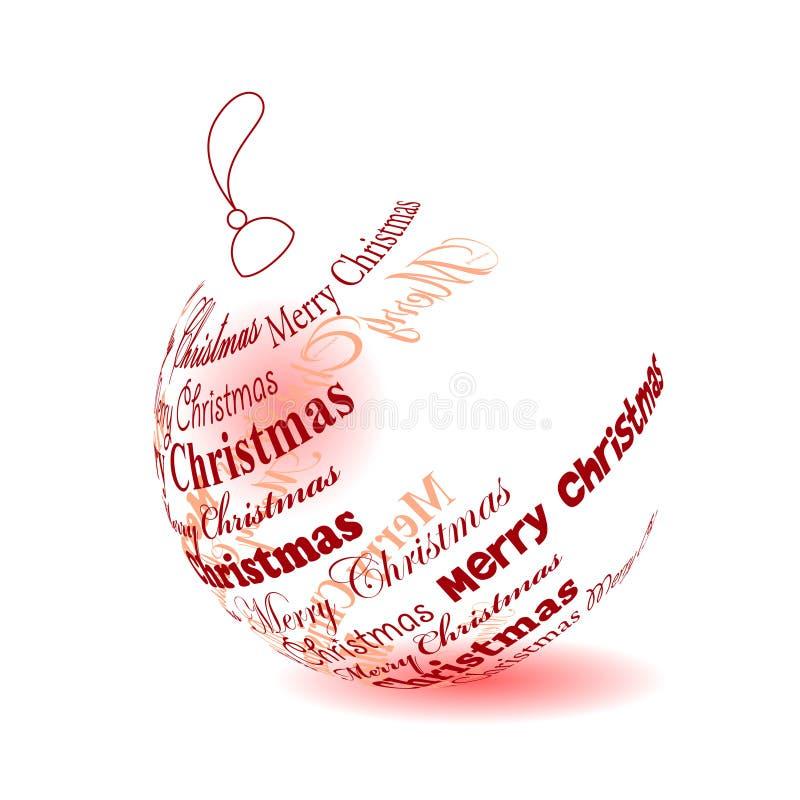 Weihnachtskugel gebildet von der phrase der frohen weihnachten vektor abbildung illustration - Weihnachtskugel englisch ...