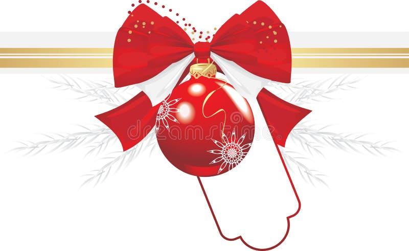 Weihnachtskugel mit Bogen und Filterstreifen. Festlicher Rand vektor abbildung