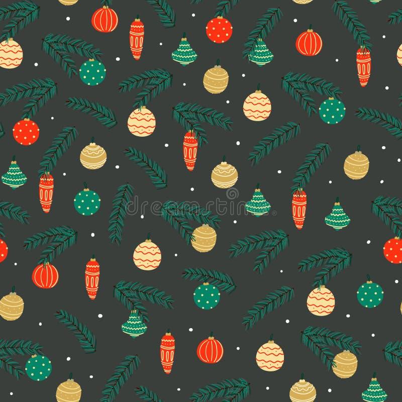 Weihnachtskugel-nahtloses Muster Handgezogenes neues Jahr und Winterurlaubhintergrund lizenzfreie abbildung