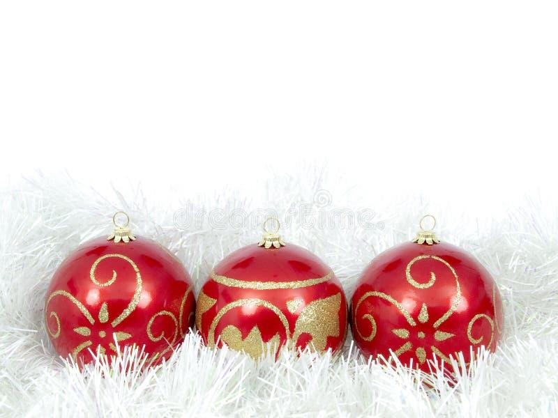 Weihnachtskugel-Rottrio stockbilder
