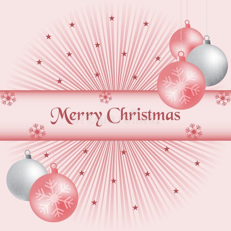 Weihnachtskugel- und -sonnendurchbruchrosa lizenzfreie abbildung