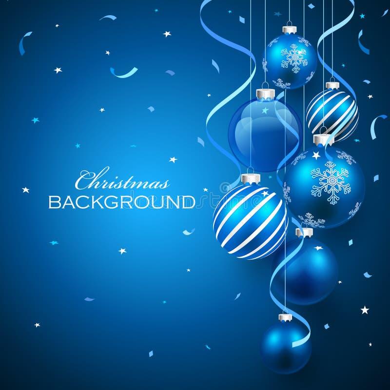 Weihnachtskugeln auf blauem Hintergrund lizenzfreie abbildung
