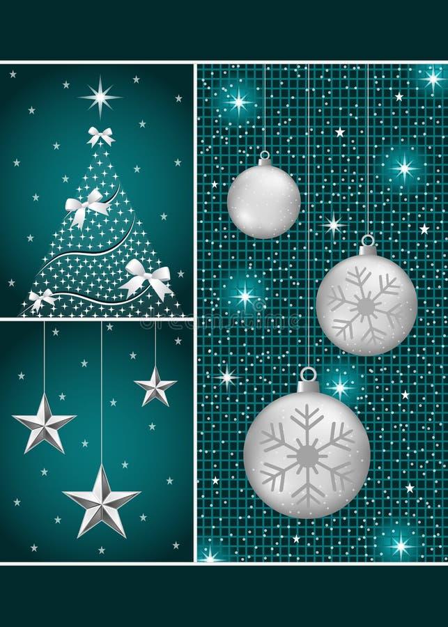 Weihnachtskugeln, -baum und -sterne stock abbildung