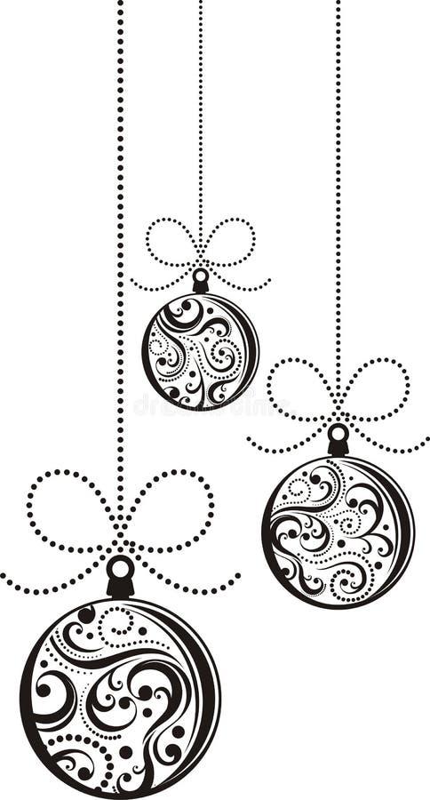 Weihnachtskugeln innen   stock abbildung