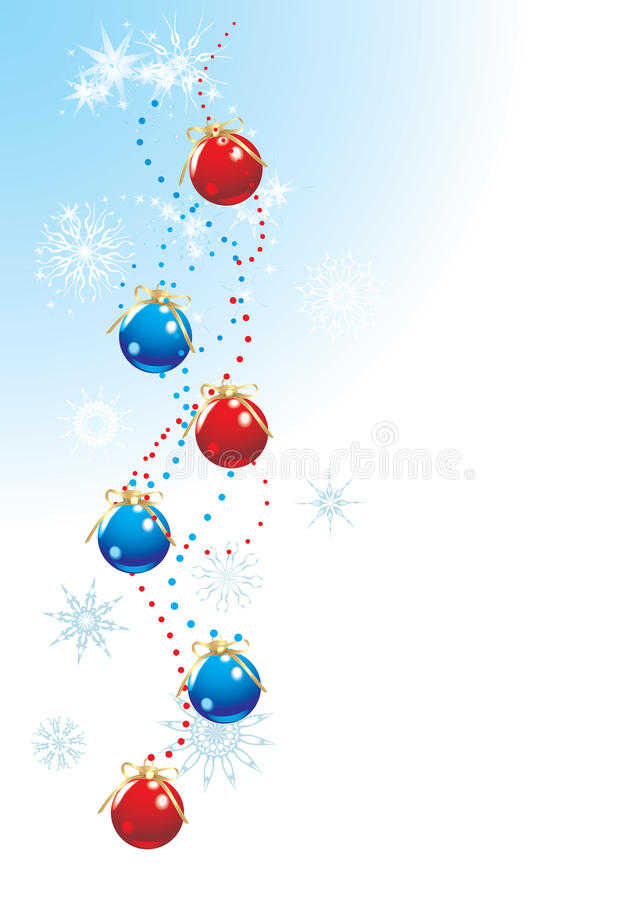 Weihnachtskugeln mit Bögen und Schneeflocken stock abbildung