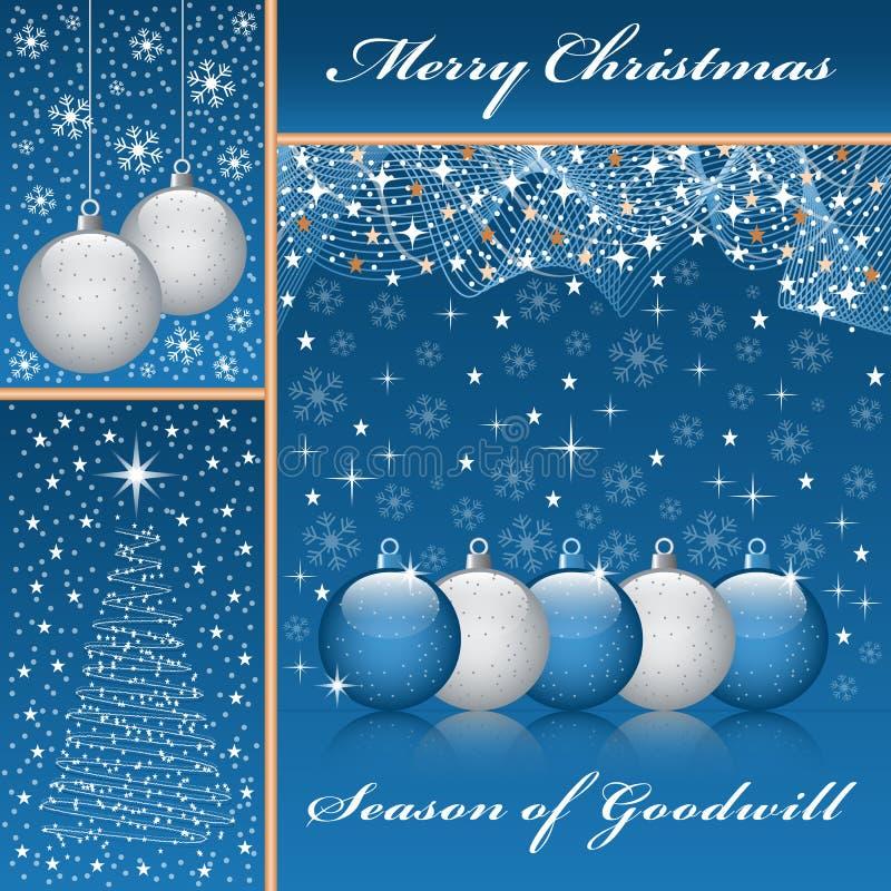 Weihnachtskugeln und -baum auf Blau vektor abbildung