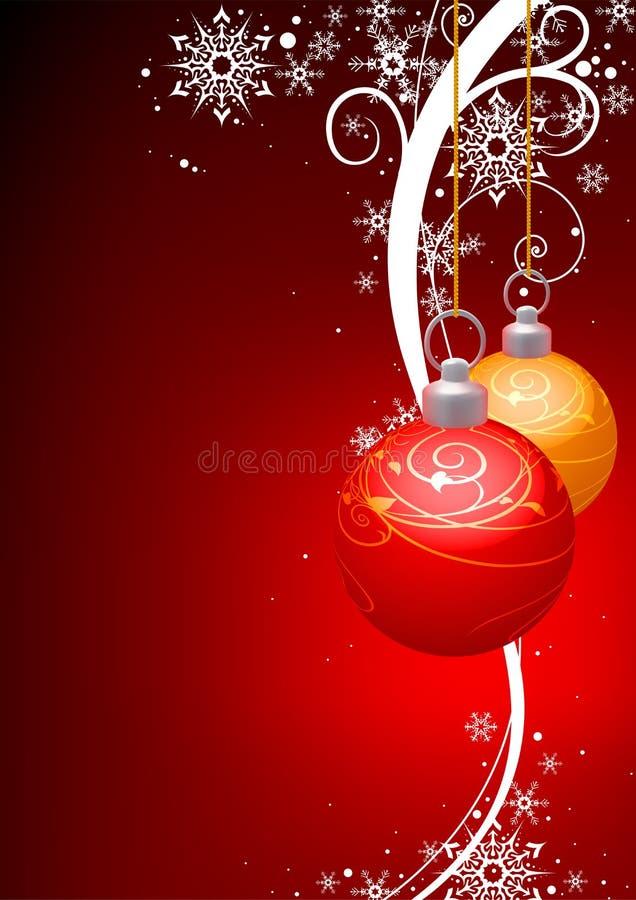 Weihnachtskugeln und -winter mit Blumen stock abbildung