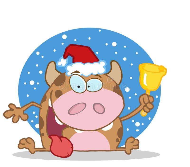 Weihnachtskuh, die eine Glocke im Schnee schellt vektor abbildung
