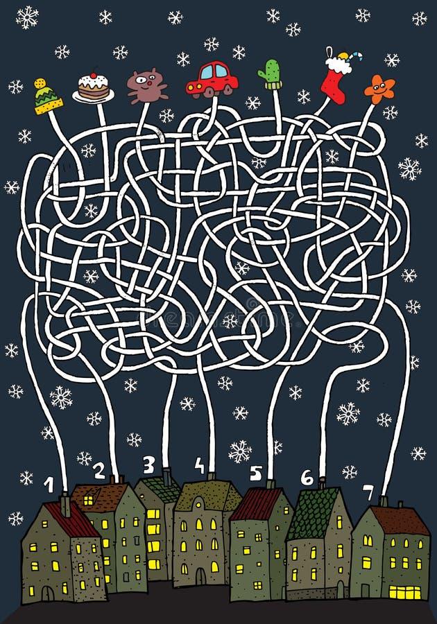 Weihnachtslabyrinth-Spiel lizenzfreie stockbilder