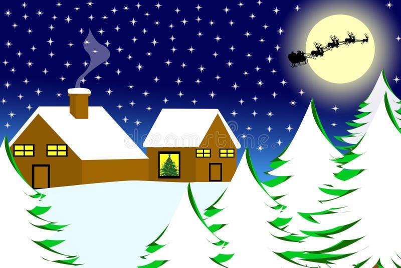 Weihnachtslandschaft lizenzfreie abbildung