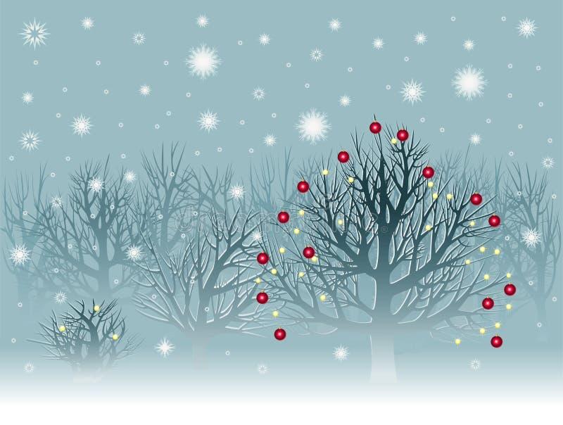 Weihnachtslandschaft mit snowbound Bäumen vektor abbildung