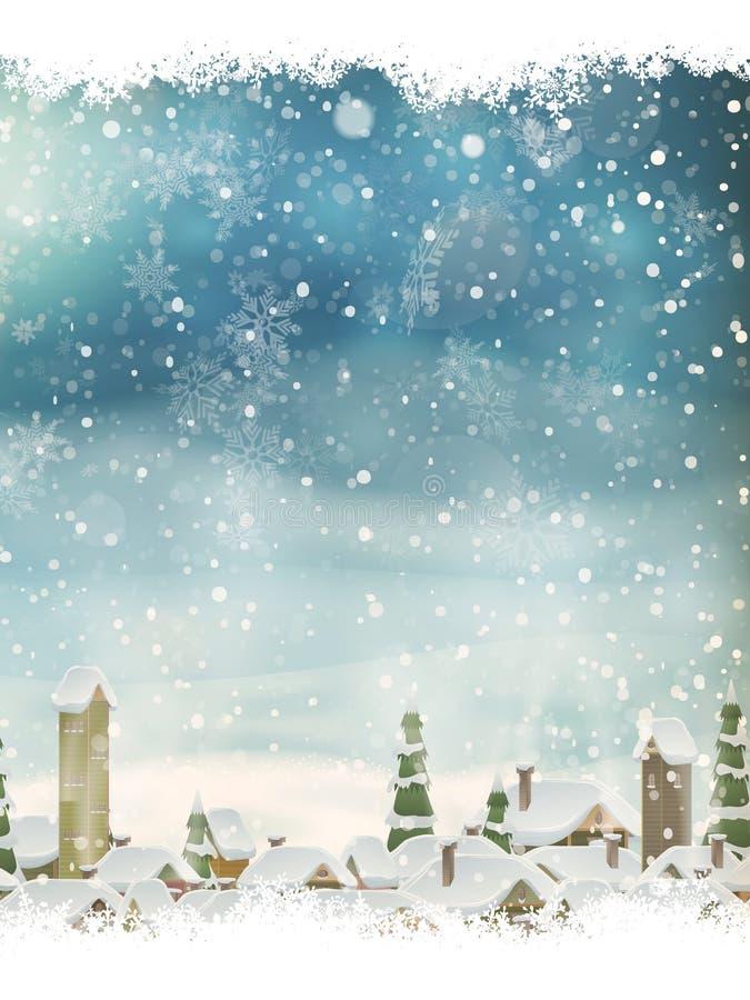 Weihnachtslandschaft mit Weihnachtsbaum ENV 10 lizenzfreie abbildung