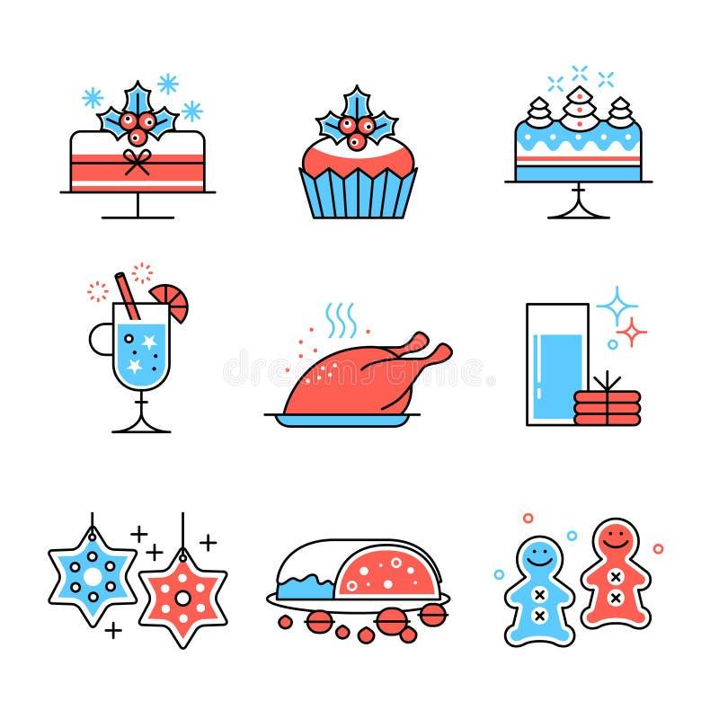 Weihnachtslebensmittel und Getränksammlung lizenzfreie abbildung