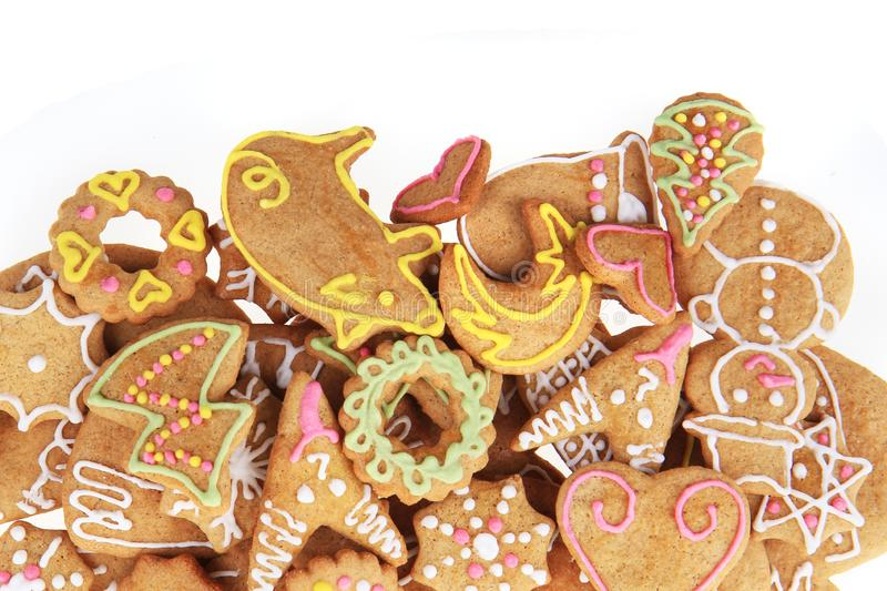 Weihnachtslebkuchen als netter Feiertagshintergrund lizenzfreie stockbilder