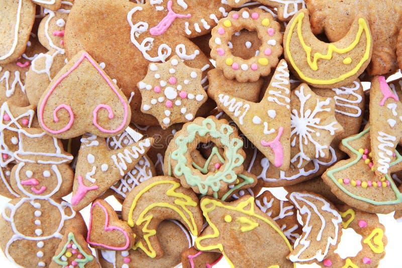 Weihnachtslebkuchen als netter Feiertagshintergrund stockbilder