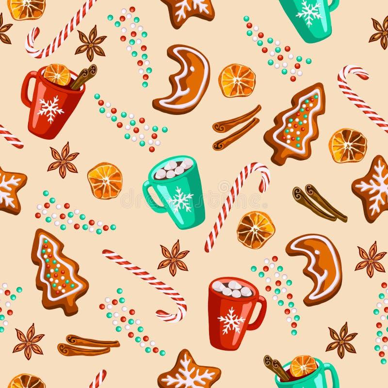 Weihnachtslebkuchen, Glühwein, nahtloses Muster des Kakaos stock abbildung
