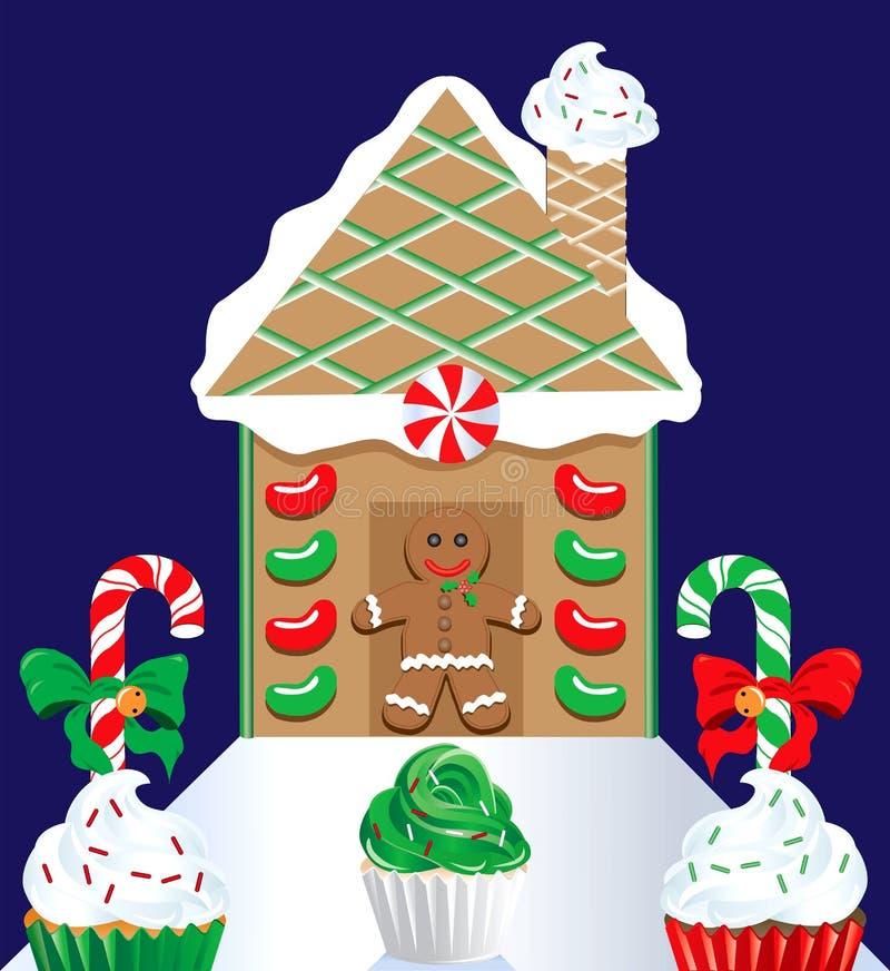 Weihnachtslebkuchen-Haus 2 lizenzfreie abbildung