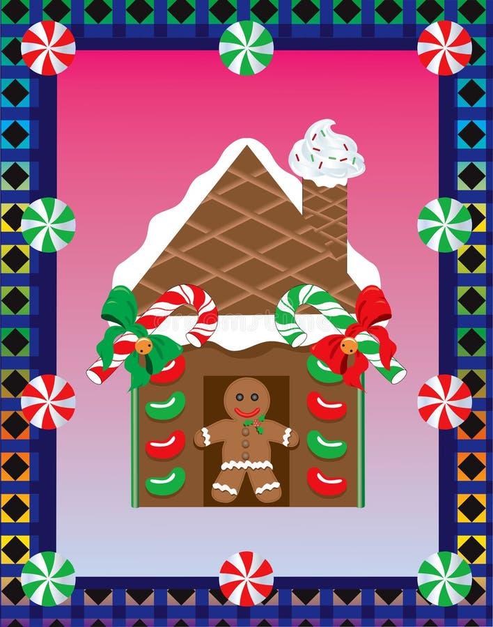 Weihnachtslebkuchen-Haus 3 vektor abbildung
