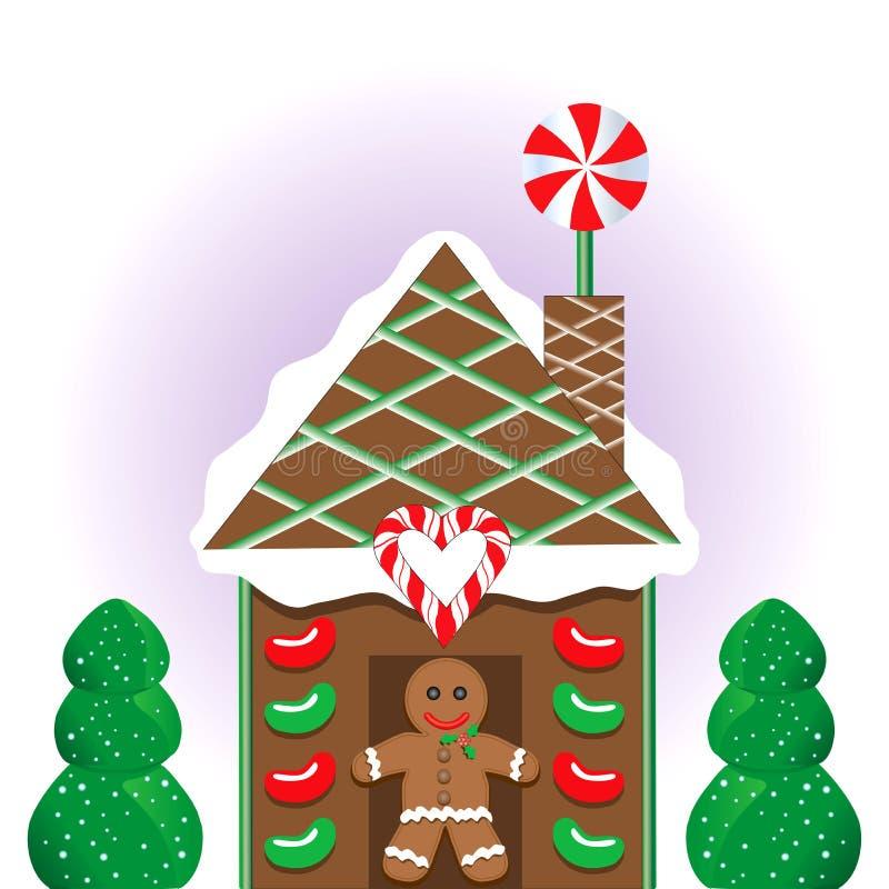 Weihnachtslebkuchen-Haus lizenzfreie abbildung