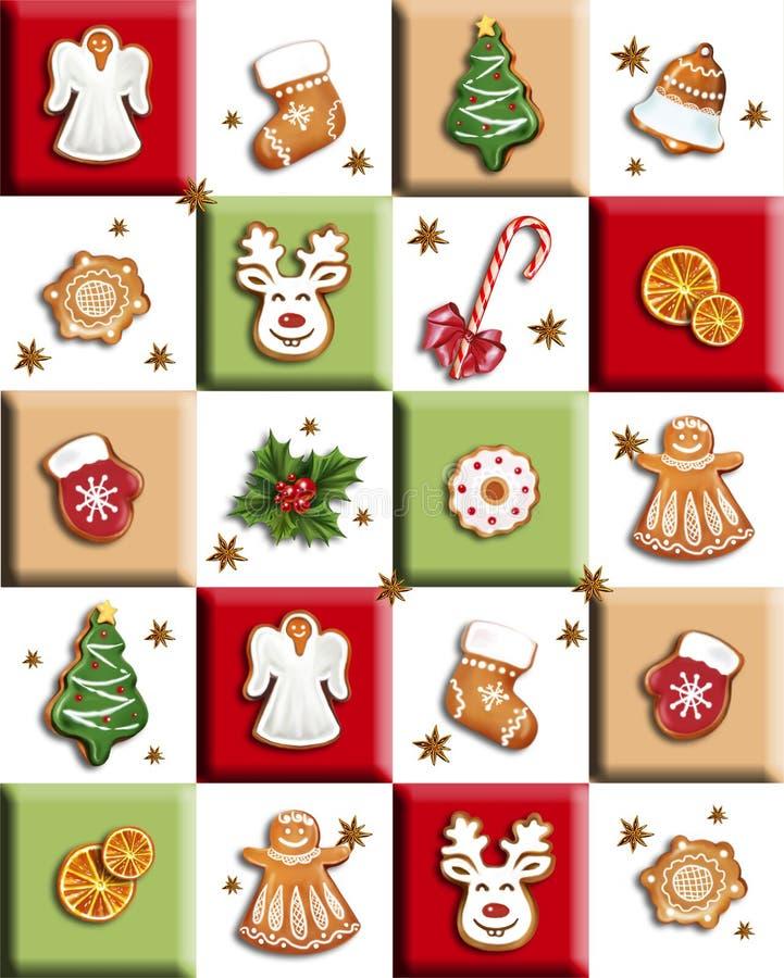 Weihnachtslebkuchen und -bonbons lizenzfreie abbildung