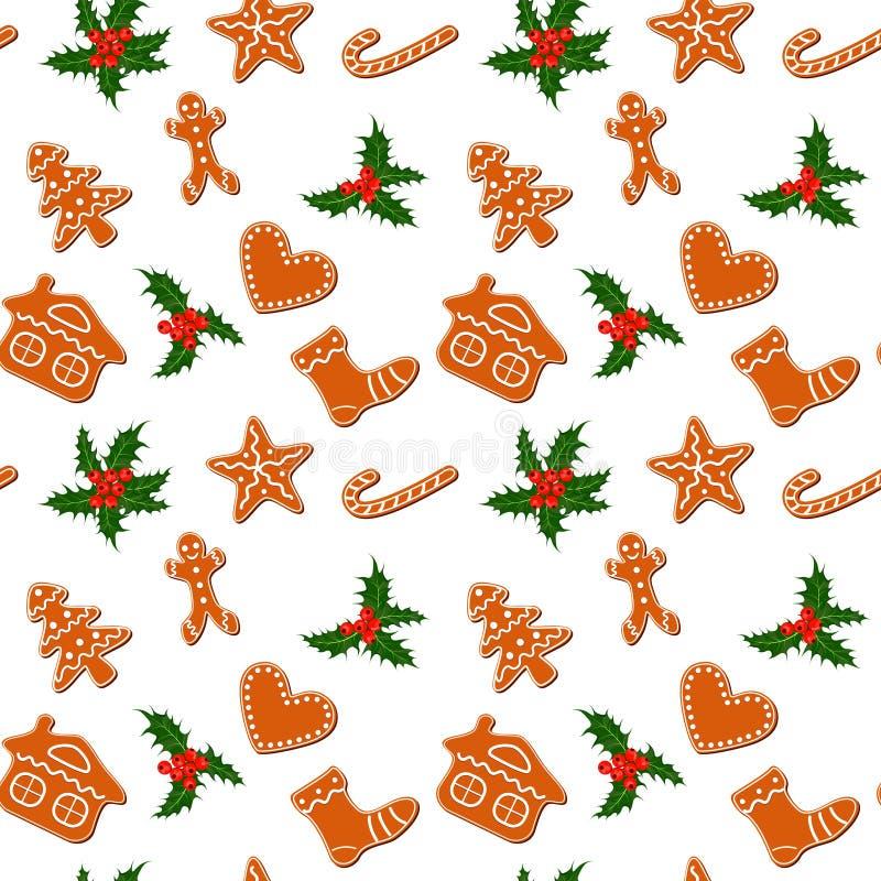 Weihnachtslebkuchenplätzchen und -stechpalme nahtlos lizenzfreie abbildung