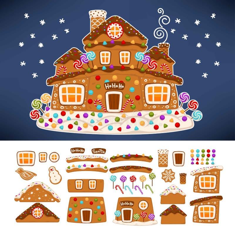 Weihnachtslebkuchenplätzchenhaus-Erbauerikonen stock abbildung